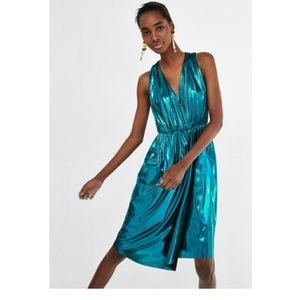 Zara Metallic Teal V-Neck Wrap Tank Skirt Dress